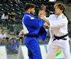 Étienne Briand ( en blanc ) souhaite se qualifier pour les prochains Jeux olympiques qui se dérouleront cet été, à Rio.