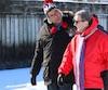 Après avoir été comblé par sa visite du Centre Vidéotron samedi, le maire de Calgary Naheed Nenshi a accompagné le maire Régis Labeaume au Village Nordik, dimanche.