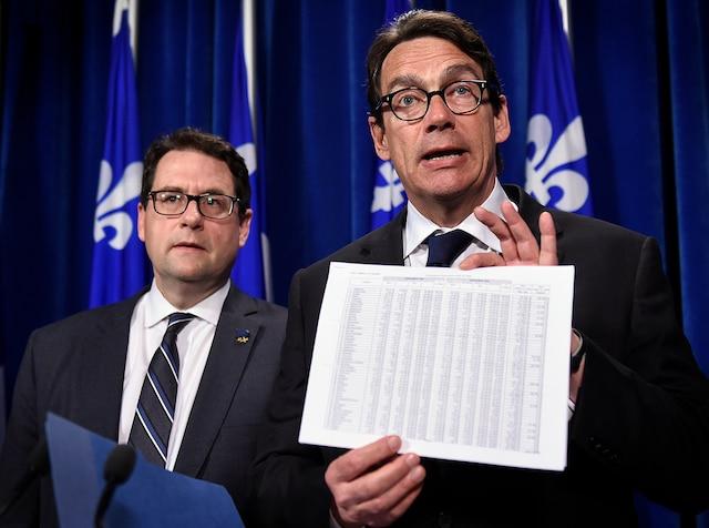 Avec Bernard Drainville, le leader parlementaire de l'opposition officielle.