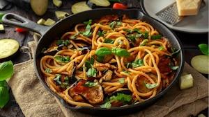 Image principale de l'article Pâtes aux aubergines rôties