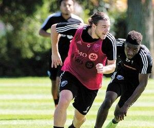 Samuel Piette (à gauche) et Clément Bayiha lors d'un entraînement de l'Impact à la fin du mois d'août.
