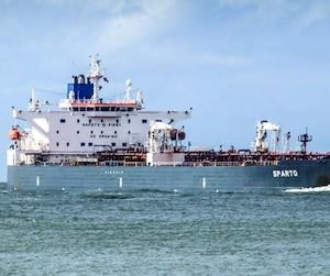 Le pétrolier Sparto, chargé à sa pleine capacité de 450 000 barils, fait la navette entre le Texas et le Québec.