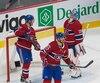 Pendant que les joueurs du Canadien ont constaté les dommages, ceux des Coyotes ont célébré après le but de Christian Dvorak.