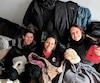 Les initiatrices du projet Les 3 dames de cœur, Stéphanie Marquis, Marie-Ève Marquis et Karine Bouley, qui a permis d'amasser une tonne de vêtements et de denrées.