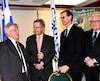 Le député de Côte-du-Sud, Norbert Morin, le maire de Saguenay Jean Tremblay, le préfet de la MRC du Fjord-du-Saguenay, Gérald Savard et le député de Dubuc, Serge Simard.