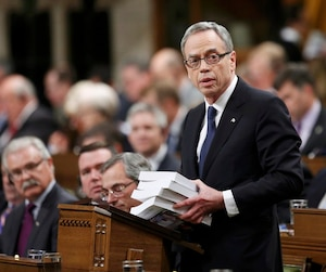Canada's Finance Minister Joe Oliver delivers the federal budget in the House of Commons on Parliament Hill in Ottawa