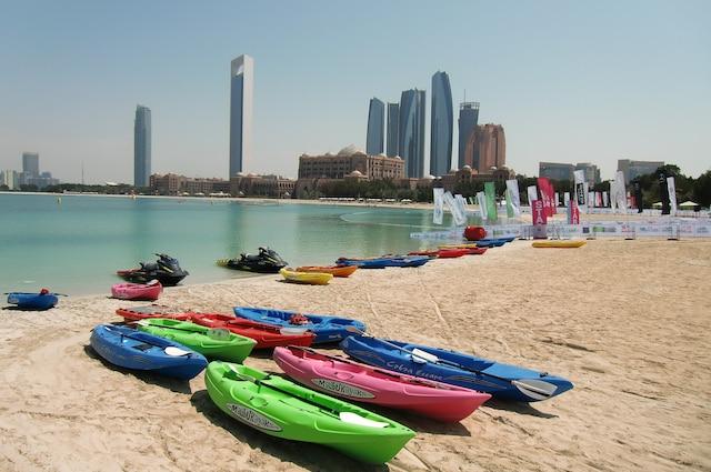 Une des nombreuses plages en plein centre-ville d'Abou Dhabi.