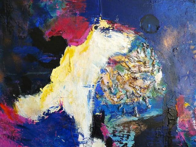 <i>La mort, cette voleuse</i>  Multimédia sur toile</br> 20'' X16'' </br> Avec cette série de tableaux, l'artiste a voulu illustrer sa solidarité envers tous ceux qui doivent continuer à vivre après un tel drame.