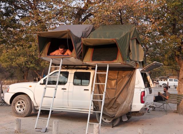 Dans un camping du parc national d'Etosha.