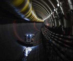 La construction d'une ligne du métro de Rennes en octobre 2015.