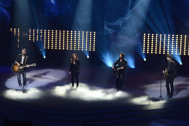 La grande finale de «La Voix» a eu lieu le 13 avril 2014 à Montréal. Sur la photo, les coachs, Marc Dupré, Isabelle Boulay, Éric Lapointe et Louis-Jean Cormier.