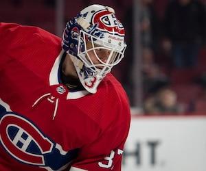 Antti Niemi (37) des Canadiens lors de la période d'échauffement du match de hockey de la LNH entre les Sharks de San Jose et du Canadien de Montréal au Centre Bell le dimanche 2 décembre 2018. JOËL LEMAY / AGENCE QMI