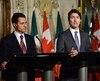 Le président mexicain Enrique Pena Nieto et Justin Trudeau