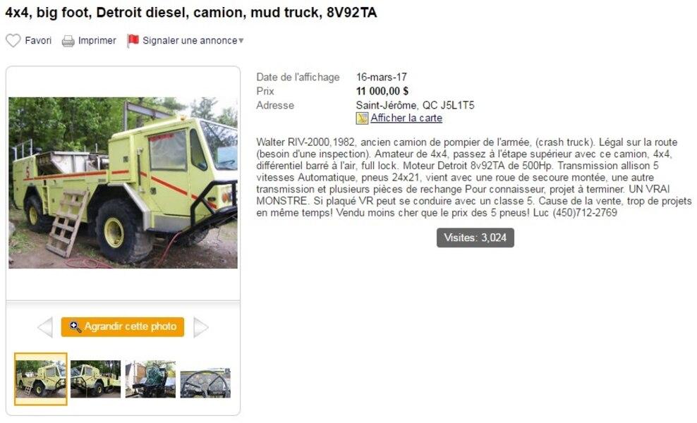 4x4 Big Foot Detroit Diesel Camion Mud Truck 8V92TA Saint Jrme