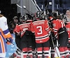 Les petits Remparts se sont rués sur Alexis Michaud après que ce dernier leur a donné la victoire en prolongation, jeudi soir, pendant que le joueur des Islanders de New York Jake Pellicane (2) peinait à y croire.
