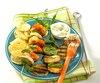 Brochette de crevettes au basilic