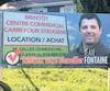 Sur cette pancarte électorale de 2017, Jean Fontainefaisait lapromotion directe du Carrefour St-Eugène, affichant même le numéro du promoteur.