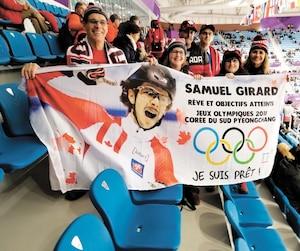 Samuel Girard a reçu les encouragements de ses proches de Ferland-et-Boilleau au Palais des glaces de Gangneung.