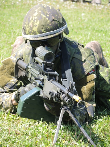 Les militaires ont fait des démonstrations de leurs tâches sur le front.