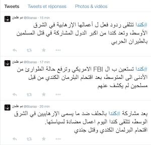 Un fil répondant du nom de @6baraa soutient, de son côté que «le Canada reçoit la réaction à ses opérations terroristes au Moyen-Orient. Le Canada est considéré comme un des plus importants pays participant au meurtre de musulmans par l'intermédiaire de son aviation militaire».