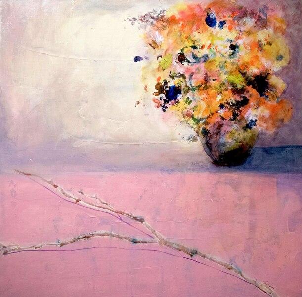 Audace rose - France Guérin<br /> Acrylique encre d'aquarelle sur toile –30 pox 30 po<br /> À l'usine Grover – local 320