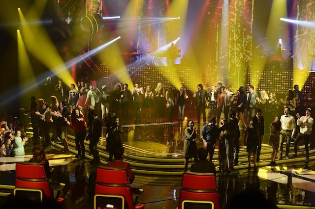 La grande finale de «La Voix» a eu lieu le 13 avril 2014 à Montréal. Sur la photo, les 49 participants de «La Voix».