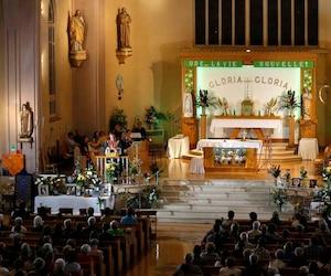 Priest Steve Lemay speaks during Messe Reconfort at Sainte-Agnes church in Lac-Megantic