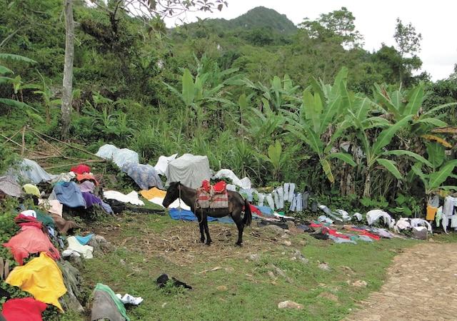 Le dimanche, en Haïti, c'est jour de lavage. Scène croquée sur la route qui mène à la citadelle La Ferrière.