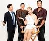 L'animateur d'<i>American Idol</i>, Ryan Seacrest, en compagnie des juges Lionel Richie, Katy Perry et Luke Bryan.