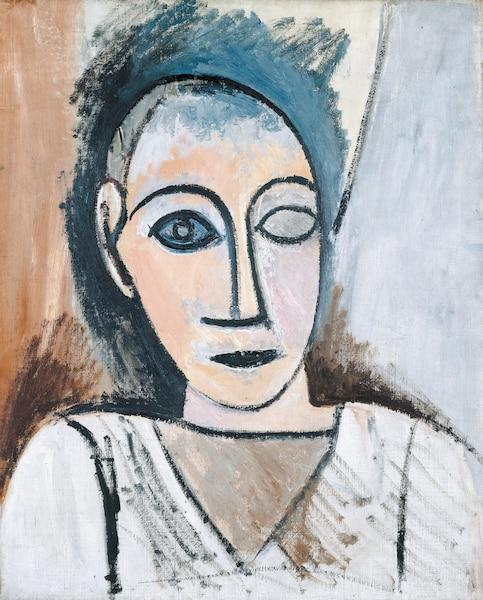 <b>Buste d'homme (étude pour <i>Les Demoiselles d'Avignon</i>)</b><br /> <b>Paris, printemps 1907 - Huile sur toile, 56cm x 46,5cm</b><br /> Picasso achetait des sculptures africaines et leur esthétisme pénétrait la structure de sa pensée. Tableau de Pablo Picasso.