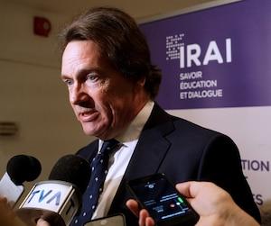 Pierre Karl Péladeau était présent au dévoilement de l'étude. Il a fondé l'Institut de recherche sur l'autodétermination des peuples et les indépendances nationales, en 2016.