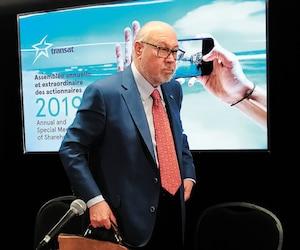 Jean-Marc Eustache a répondu aux questions des journalistes après l'assemblée annuelle de Transat, hier matin.