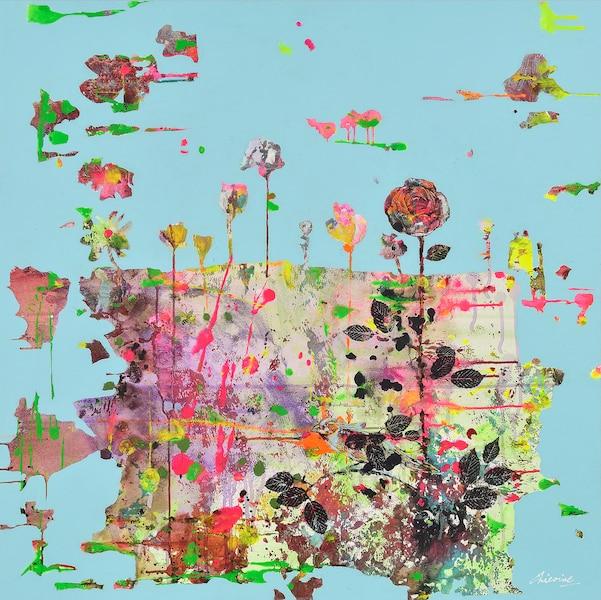 Jardin céleste <br /> 2016, Acrylique et transferts d'images sur toile, 36 X 36po<br /> Les gens demandent à l'artiste si ses tableaux, comme celui-ci, ont vraiment été endommagés par le feu dans la série O'. Lucie Chicoine
