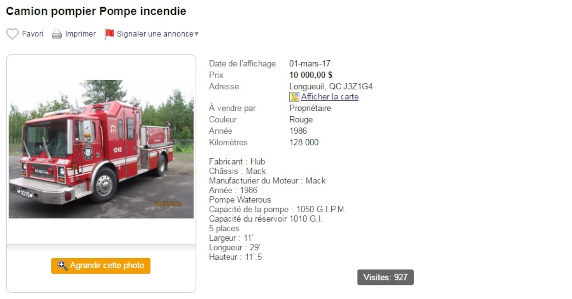 sept camions de pompiers du qu bec vendre sur kijiji jdm. Black Bedroom Furniture Sets. Home Design Ideas