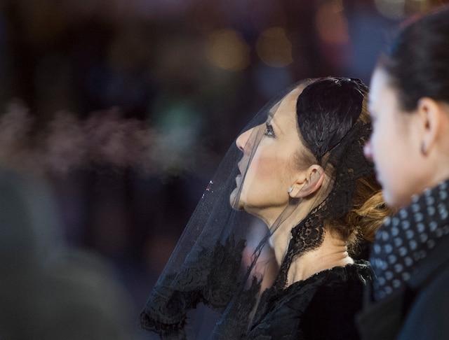 Céline Dion lors des funérailles de René Angelil, célébrées ce vendredi après-midi 22 janvier 2016, à la Basilique Notre-Dame, à Montréal. PIERRE-PAUL POULIN/JOURNAL DE MONTRÉAL/AGENCE QMI