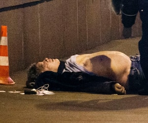 The body of Boris Nemtsov is seen on the ground in central Moscow