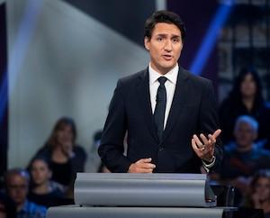 Le chef libéral Justin Trudeau lors du débat en anglais, lundi soir.