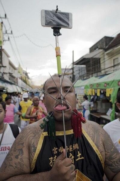 Festival annuel végétarien de Phuket, en Thaïlande, le 19 octobre 2015.
