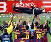 L'ex-entraîneur du FC Barcelone Pep Guardiola, ici photographié en 2011 lors de sa victoire de la Ligue des champions, a dénoncé récemment «l'État autoritaire» espagnol.