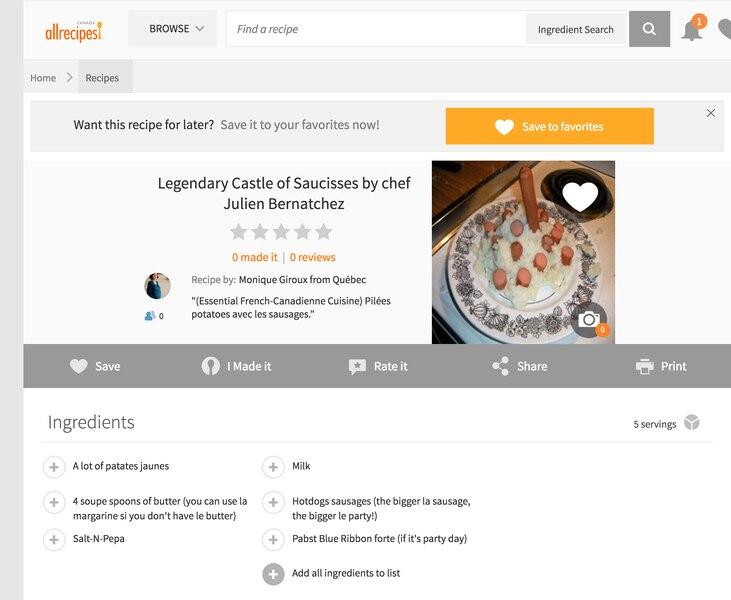 La recette du «Legendary Castle of Saucisses by chef Julien Bernatchez» se retrouve désormais sur le site AllRecipes.com.