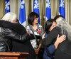 La députée de Québec Solidaire, Manon Massé, était accompagnée de femmes autochtones mardi pour demander la tenue d'une enquête publique indépendante pour faire la lumière sur les comportements des policiers à Val-d'Or.