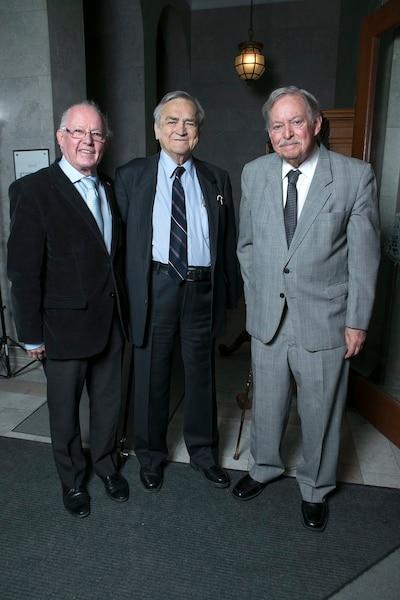 Lancement du livre de Jean Garon, le 3 avril 2014. Sur la photo, Bernard Landry, Jean Garon et Jacques Parizeau.