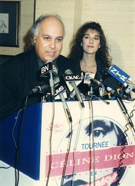 René Angelil et Céline Dion. 02 mai 1991 PHOTO NORMAND JOLICOEUR / LES ARCHIVES / LE JOURNAL DE MONTREAL