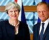 La Première ministre britannique Theresa May et le président du Conseil, Donald Tusk.