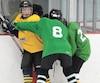 Les joueurs de hockey de catégorie bantam du Québec sont moins à risque que ceux dans les autres provinces, où la mise en échec est permise. Sur la photo, des joueurs bantams photographiés lors de leur camp d'entraînement dimanche, à Québec.
