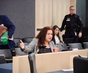 Maria Mourani, criminologue, sociologue et présidente de Mourani-Criminologie, devant la commission spéciale sur l'exploitation sexuelle des mineurs, mercredi.