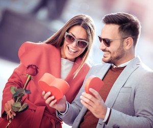 Bloc Saint-Valentin cadeau rose