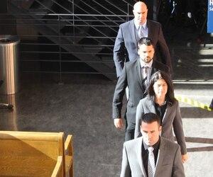 Les accusés Kaven Deslauriers, Barbara Provencher, Marc-André St-Amant et Dominic Pronovost.