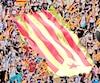 Des étudiants universitaires de Barcelone ont montré leurs couleurs hier en se drapant du drapeau catalan.