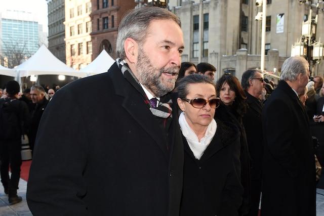 Le chef du NPD Thomas Mulcair lors de l'entrée des invités aux funérailles de René Angelil, célébrées ce vendredi après-midi 22 janvier 2016, à la Basilique Notre-Dame, à Montréal.